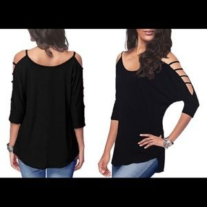 NWOT Black Cut Out Sleeve Blouse